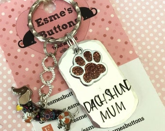 Dachshund Mum dog Keyring, Dachshund Dad gift, Handstamped, Fathers day gift, dog gift, dog lover gift, gift for him, gift for her,