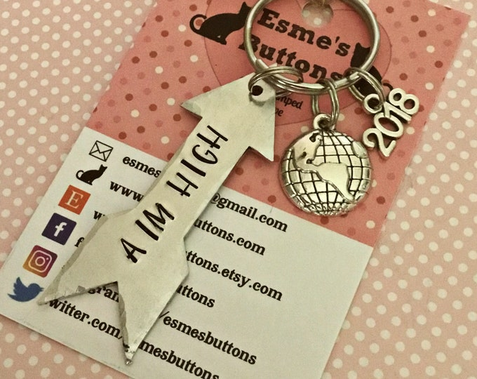 Aim High keyring, Gap year gift, AIM HIGH, Hand stamped Key chain, UK seller, Gift for him, Gift for her, unisex,