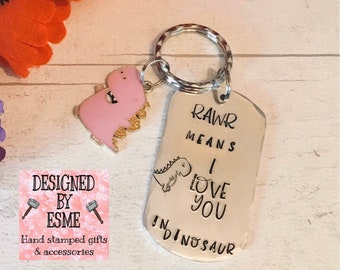 Valentines gift, Rawr means I love you, husband gift, wife gift, boyfriend gift, girlfriend gift, Best friends gift, hand stamped, dinosaur,