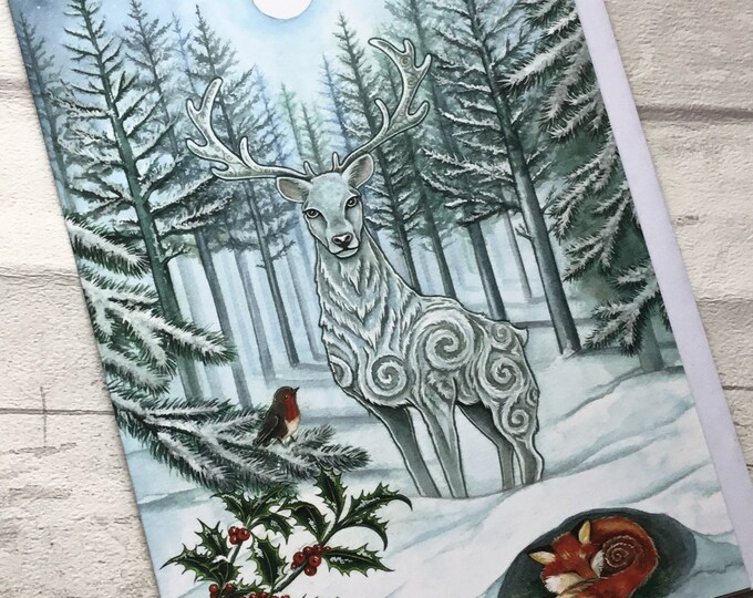 Winter card, Snowy Card, stag Card, Greetings Card, card for him, card for her, Esther Remmington