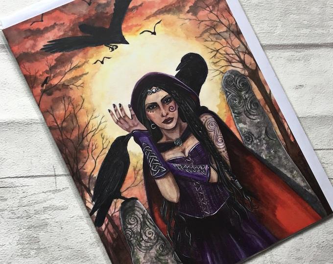 Pagan greetings Card, Esther Remmington, Morrighan, artist card, alternative card,
