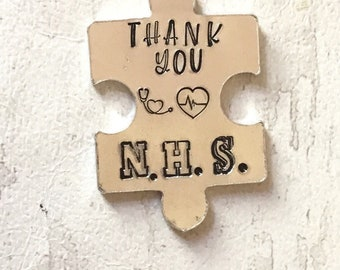 Thank you NHS token, key worker gift,frontline workers, SOCIAL DISTANCING, lockdown, Hand Stamped,