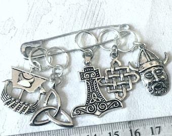 Viking stitch markers, Knitting markers, crochet markers, Viking progress keepers,