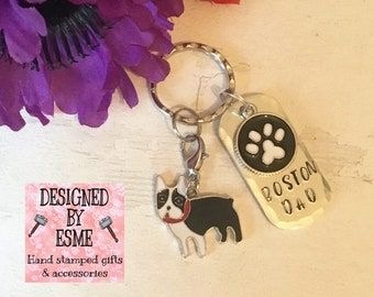 Boston dog keyring, Boston mom, Boston keyring gift, Mothers Day gift, Fathers Day gift, hand stamped  keyring, dog gift,