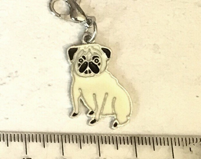 Pug charm, add on, zip pull, stitch marker, Pug gift, dog charms