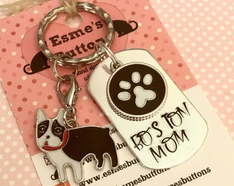 Boston terrier Dad dog keyring, Boston mom, Boston keyring gift, Boston Key Ring, Fathers Day gift, hand stamped  keyring, dog gift,