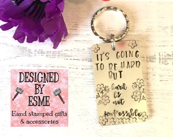 Life is hard keyring, self isolation, stuck at home, social distancing, Hand stamped, Key chain,