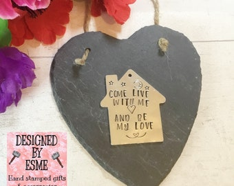 Come live with me and be my love slate heart, romantic gift, will you live with me, keys to the house, new house keys, moving in,