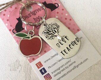 Teacher keyring, Best Teacher, teacher gift,TA gift, End of year gift, Hand stamped, Thank you gift, Gift for Her, Gift for him