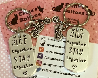 Motorbike couple gifts, bike gift, Hand stamped, UK seller, gift for him, gift for her, made in Norfolk,