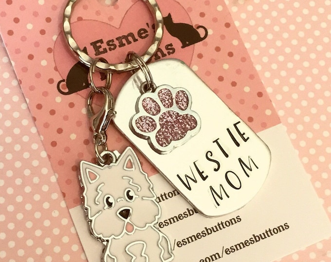 Westie dog keyring gift, Westie mom, Fathers day gift, Westie keyring gift, Westie Key Ring, mothers day, handstamped keyring, dog gift,
