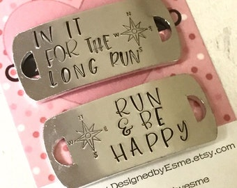 Run and be happy shoe tags, lace plates, half marathon gift, runner gift, Hand stamped, for her, for him,