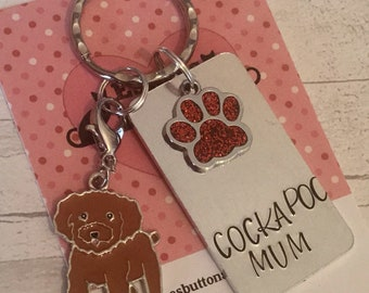 Cockapoo dad dog keyring, doodle mum dog keyring, cockapoo owner gift, cockapoo gift, fathers day gift,Hand Stamped Key Ring,