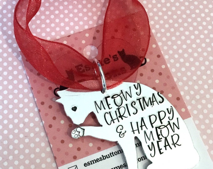 Cat Christmas tree gift, Cat personalised gift, handstamped cat, home decor, tree decoration, gift for her, for him,