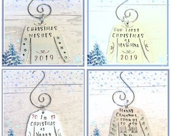 Hand stamped Christmas tree jumper ornament, personalised gift, Christmas tree decoration, Christmas home decor, for her, for him