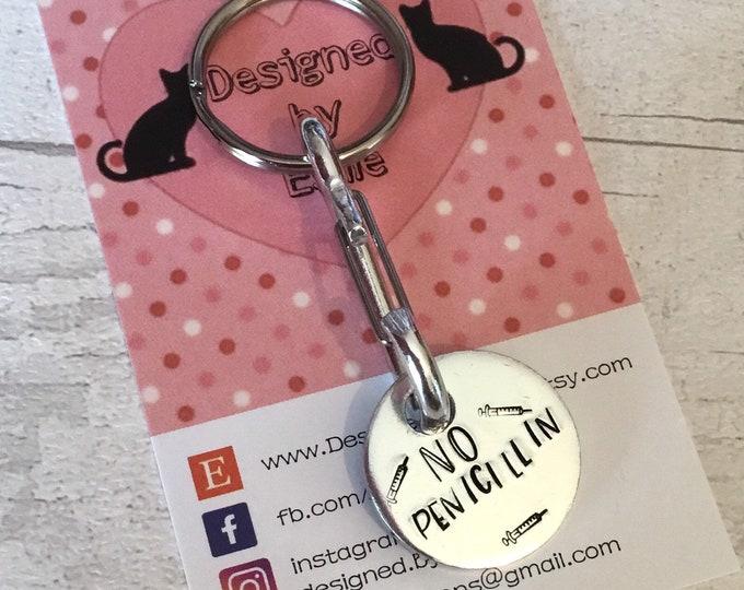 Personalised medical penicillin alert keychain or bag charm, Trolley token, Hand Stamped gift for him, gift for her, uk seller