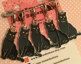 Russian Blue Cat stitch markers, cat gift, cat knitters, cat crocheters, stitch markers, for a knitter, for a crocheter