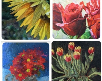 Set of 4 Flower painting greetings cards by Mark the Artist