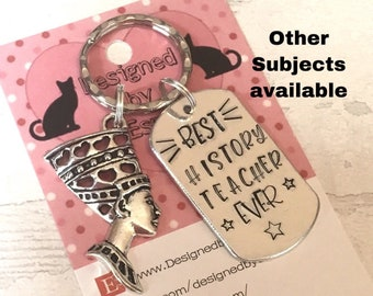 History Teacher appreciation keyring, history teacher gift, history graduate, history student, End of year gift, Hand stamped, Thank you,