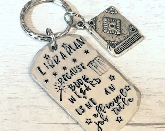 Librarian keyring, librarian gift, book wizard, Hand stamped, Thank you gift, Gift for Her, Gift for him,