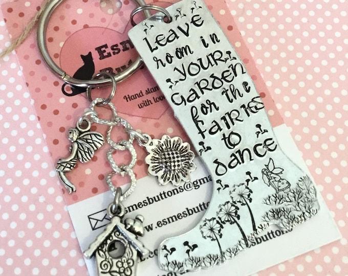 Fairy garden keyring, fairy garden gift, Gardener gift, fairy gift, wellie boot, boot keyring, Hand Stamped Key chain, Gift for gardener,
