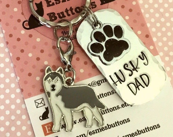 Husky Dad dog keyring, Fathers Day gift, husky mom, husky mum, husky gift, Hand Stamped, Key Ring, Dog Owner gift, pet Owner gift,