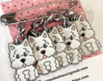 Westie dog stitch markers, Westie dog knitters,Westie dog crocheters, stitch markers, gift for a knitter, gift for a crocheter, Westie gift,