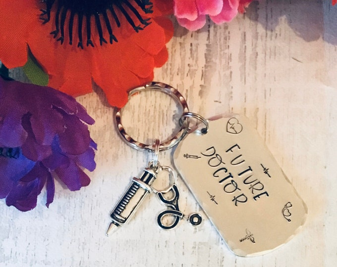 Future doctor keyring, graduate doctor gift, medical student gift, Hand Stamped, gift for a student doctor, gift for her, gift for him,