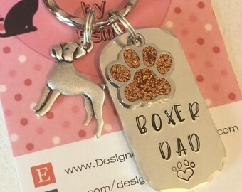 Boxer Dad dog keyring , boxer mum, boxer gift, Father's Day gift, mothers day gift, Hand Stamped Key Ring, Dog Owner gift, pet Owner gift,