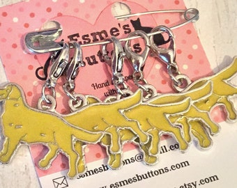 Golden Retriever dog stitch markers, golden retriever knitters, golden retriever crocheters, stitch markers,for a knitter,for a crocheter