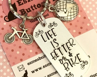 Cyclist gift, cycle rider, bicycle rider, Life is better on a bike, bike rider, Hand stamped, UK seller, gift for him, gift for her,