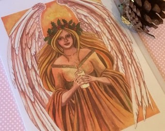 Winter Solstice card,  pagan card, angel card, alternative card, card for her, card for him, Greetings Card, Esther Remmington