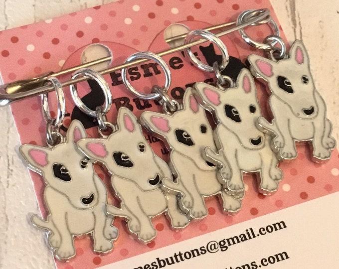 Bull Terrier dog stitch markers, Bull Terrier knitters,  Bull Terrier crocheters, stitch markers, gift for a knitter, gift for a crocheter