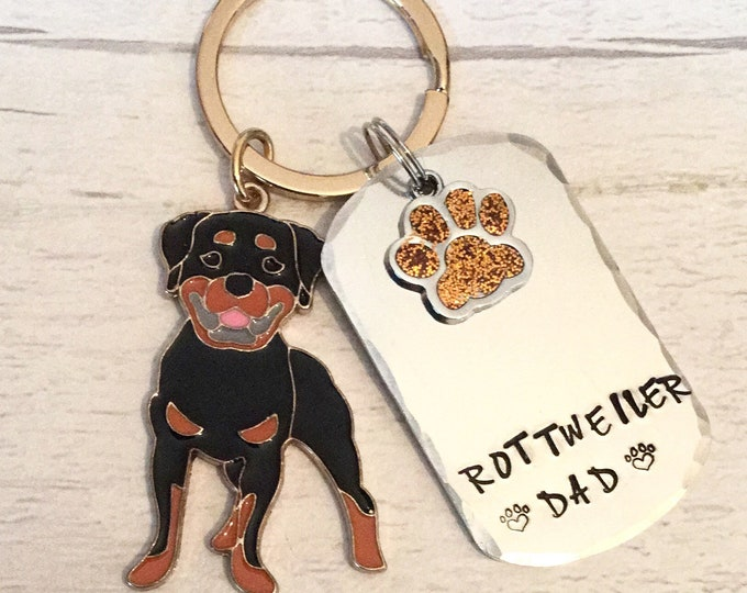Rottweiler Dad dog keyring, Rottweiler gift, Rottweiler Mum, hand Stamped Key Ring, bag charm, fathers day gift, for him, gift for her,