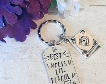 Best English Lit Teacher ever, appreciation keyring, English teacher gift, English Literature graduate, English student, Hand stamped,