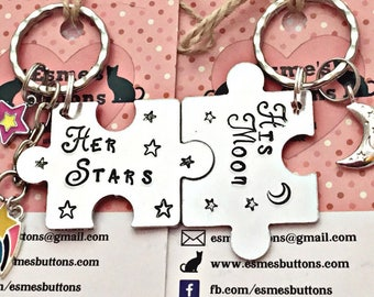 Couple interlocking Valentines gift, Couple keychains, Puzzle pieces, lovers, marriage Keychains, His Moon/ Her Stars, uk seller,