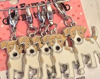 Jack Russell dog stitch markers, jack russell knitters,  jack russell crocheters, stitch markers, gift for a knitter, gift for a crocheter