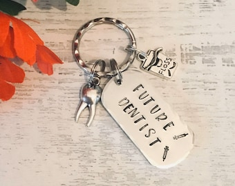 Future Dentist keyring, dentist student gift, dental hygienist gift, gift for a dentist, handstamped dental gift, for her, for him,