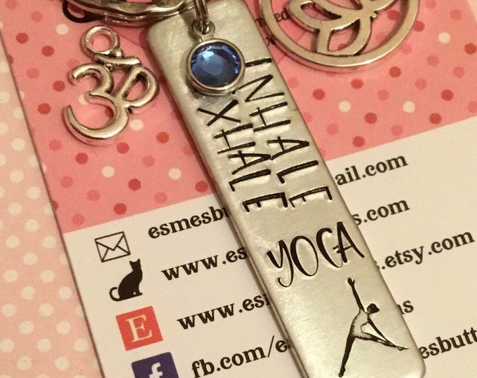 Yoga keyring, yoga keychain, yoga gift, spiritual keyring, spiritual keychain, inhale exhale, spiritual gift,