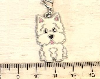 Westie charm, add on, zip pull, stitch marker, Westie gift, dog charms