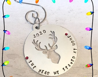Lockdown Christmas tree bauble, the year we stayed home, stag cut out, personalised gift, handstamped, tree decoration,