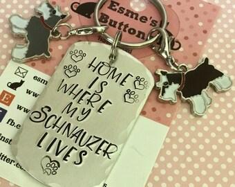 Home is where my Schnauzer lives dog keyring, schnauzer gifts, dog lover gift, gift for him, gift for her, schnauzer key ring,