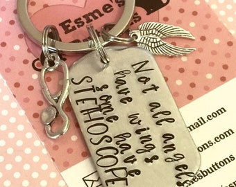 Nurse key ring, nurse gift, vet nurse gift, Hand Stamped, gift for a nurse, gift for her, gift for him, angel gift,