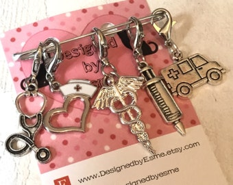 Nursing stitchmarkers, Hospital stitch markers, Nurse progress markers, medical gift, gift for a knitter, gift for a crocheter,