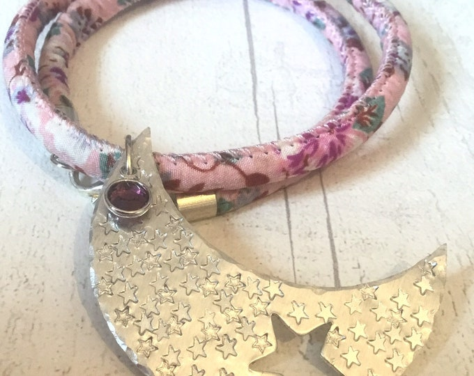 Moon and star celestial choker necklace, pink cotton cord floral design, hand stamped star pendant, celestial design, celestial choker,