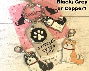 Siberian Husky dad keyring gift, Siberian Husky mum, Siberian Husky keyring gift, Siberian Husky Keychain, mothers day, handstamped gift