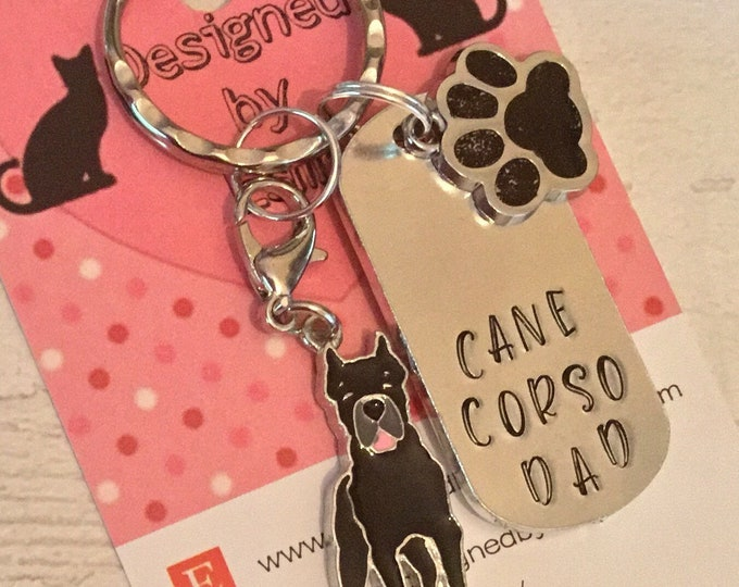 Cane Corso dog dad keyring,Fathers day gift, Cane Corso mum, dog gift, Hand Stamped Key chain, Gift for her, Gift for him
