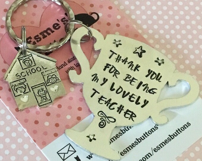 Teacher keyring, teacher gift, End of term gift, Hand Stamped gift, trophy, gift for teacher, trophy teacher, number one teacher