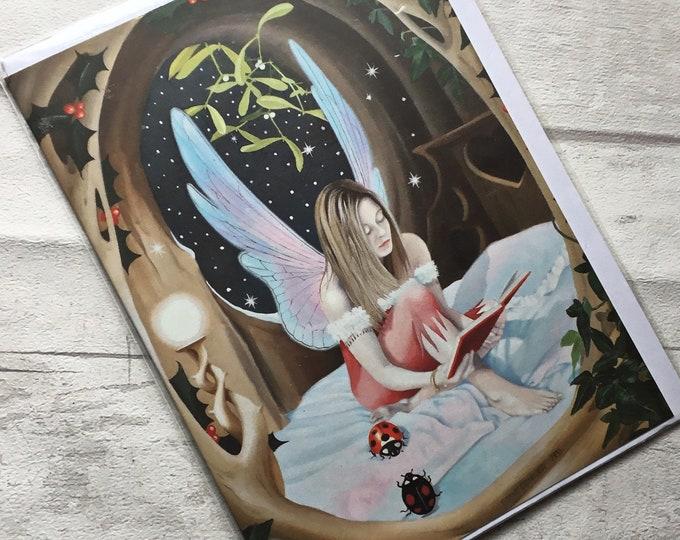 Yule Card,Stevie B., pagan Card, fairy card, Christmas fairy, alternative card,