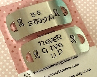 Lockdown gift, Be strong never give up, Shoe tags, runners gift, athletes gift, Hand stamped, gift for her, gift for him,awareness tags,